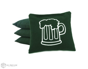4 Beer Classic Series Cornhole Bags   Corn or All Weather with Color Options