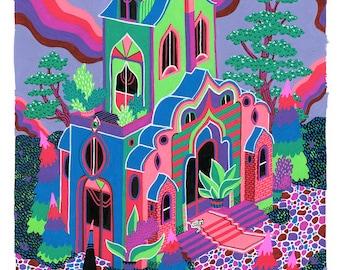 Neon House Print