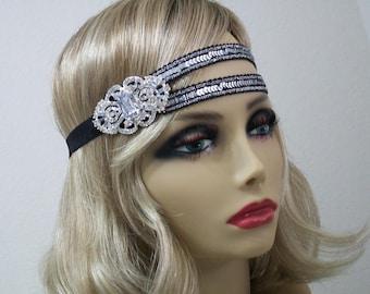Great Gatsby headpiece, Flapper headband, 1920s headband, Roaring 20s, Silver sequin headband, 1920s hair accessory, Vintage inspired