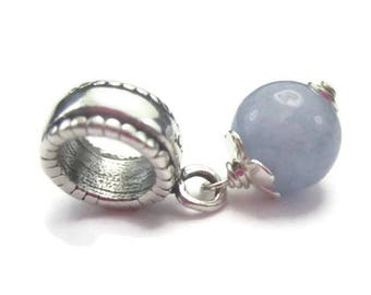 Blue Stone European Bracelet Charm in Sterling Silver and Aquamarine Gemstone for March Birthday