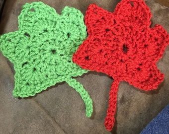 Crocheted leaves - small