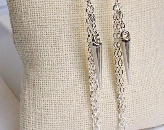 Silver Athena Drop Earrings, Dangle Earrings, Spike Jewelry, Boho Jewelry, Silver Earrings