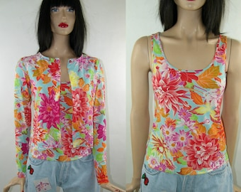 KENZO top and jacket set, size S/36/small, floral jungle print, 1990's vintage, women's tops & tees/ cardigans, Multicoloured print