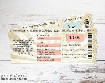 Plane ticket invite | Etsy