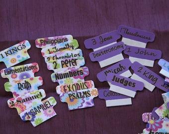 """Bible Tabs """"Custom Bible Tabs, Books of the Bible Tabs, Book Tabs"""""""