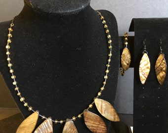 Amber Stone and glass beaded set