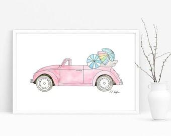 Pink Convertible With Umbrellas, original watercolor, car illustration, vw bug, vintage car, fine art, painting, coastal decor, beach decor