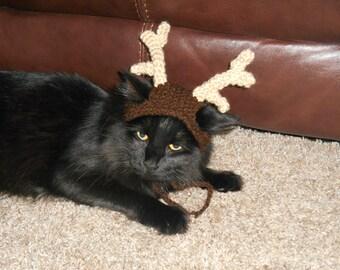 Knit Cat Hat  - Knit Reindeer Cat Hat - Cat Christmas Costume - Pet Christmas Costume - Cat Photo Prop - Knit Reindeer Hat for Kittens