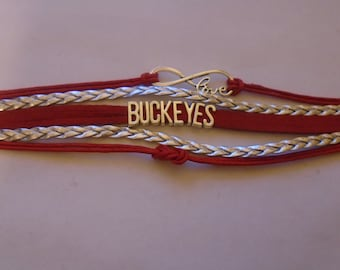 """Ohio State """"I Love Buckeyes Football""""Infinity  bracelet 8 inch bracelet and extension chain"""