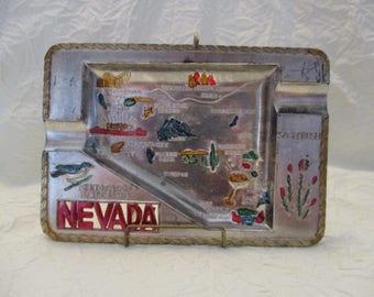 Silver Plated NovCo Nevada State souvenir ashtray