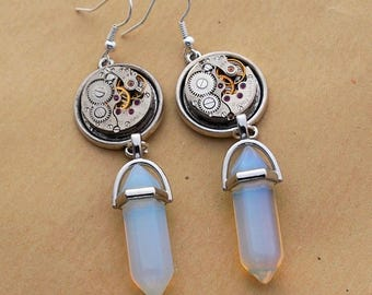 Steampunk gear mechanism Silver earrings and its translucent stone