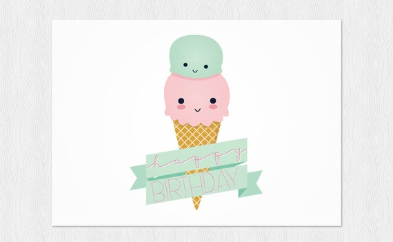 Happy birthday card ice cream kawaii instant download funny ccuart Choice Image