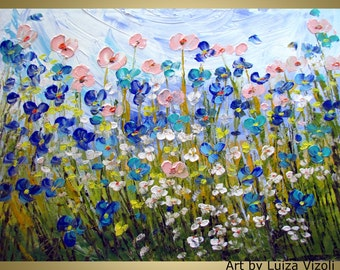 Oil Painting Large Canvas WILDFLOWERS Original Palette Knife Impasto Oil Painting Flowers Fine Art by Luiza Vizoli 40x30
