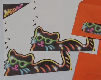 Vintage Whiting's Neon Cat Stationery with Window Envelopes ~ 1980's