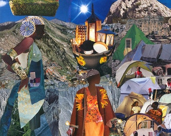 Mirlande Haiti. Tent City. Haitian Art. Women. Goddess. 5 inches x 7 inches Collage Print