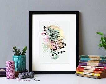 Pride & Prejudice - 'In Vain Have I Struggled...' - Literary Print - Jane Austen Gift - Framed Quote Print - Book Art -  Literary Quote