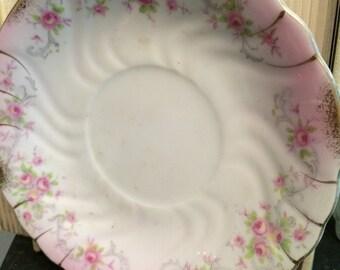 pink floral plate, Lefton China, vintage saucer, vintage plate, floral china, pink saucer