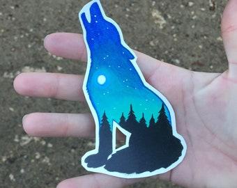 Dog and night sky sticker