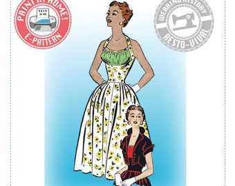 "E-Pattern- Early 1950s Halter Dress & Bolero- Size 36"" Bust Wearing History PDF Download Pattern"