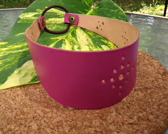 Pink Leather Headband Handmade