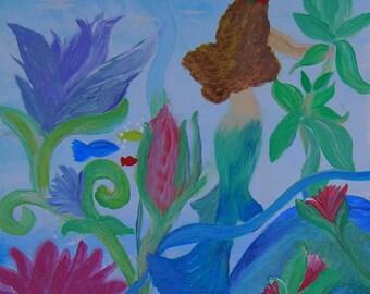 Mermaid garden yoga mat from my art