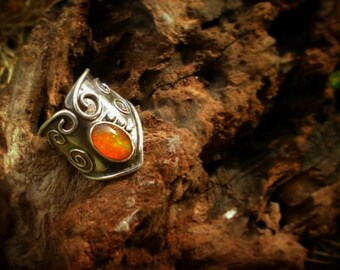 Adjustable mexican opal silver 925 ring