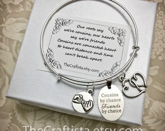 C11B, Cousin Bangle, Cousin Gift, Cousin Bracelet, Cousin Jewelry, Gifts for Cousins, Pinky Promise Charm, Cousin Pendants, Cousin Charms