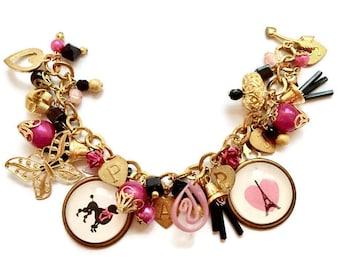 Paris Bracelet ~'I Love Paris'~ Unique Jewelry, Unique Bracelet, Paris Jewelry, France Bracelet, French Jewelry, France Jewelry