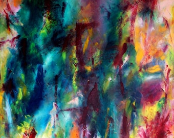Oil Painting, colourful, abstract and poetical art by Anita Couwenbergh