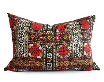 Moroccan Pillow, Bohemian Pillow Covers, Moroccan Cushions, Lumbar, Boho Pillows, 14x20, Red Black Pillow, Zipper, PillowThrowDecor