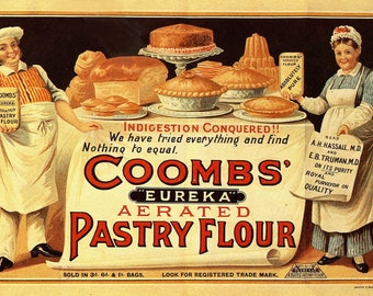 Coombs' Eureka Aerated Pastry Flour Vintage Advertising Print