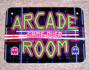 Metal Sign ARCADE ROOM video games penny coin operated gamer gaming machine coin-op vintage 80's man cave wall plaque