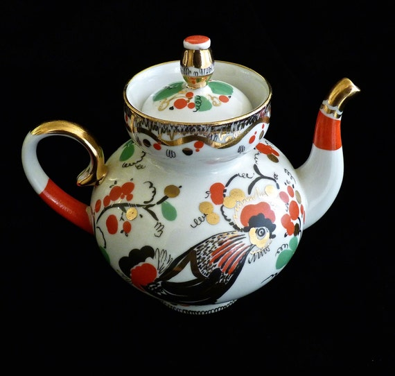 LOMONOSOV ~ USSR Porcelain Teapot~ Folk Rooster ~ Hand Painted With Bright Colors and 22K Gold ~ Vintage