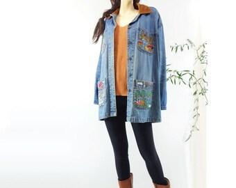 Vintage Chore Jacket Denim Chore Coat Vintage Work Jacket Barn Jacket Embroidered Denim 1980s Vintage Corduroy Collar Denim Work Wear M, L