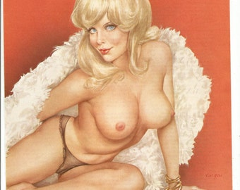 MATURE - Vintage 2 Page 1975 Vargas Girl from Playboy Magazine Pinup Pin Up Blonde  Blue Eyes  Sex Nude Feather Boa Wall Art Decor