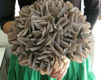 Grey paper roses wedding bouquet/ Paper flower/ Centerpiece table decor/ Bridal bouquet/ Bridesmaid bouquet/ Bridal shower/ Nurcery decor