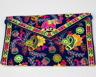 Indian Rajasthani Jaipuri Ethnic Traditional Multicolor Foldover Clutch Purse
