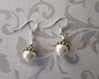 Swarovski Elements white Pearl silver dangle handmade earrings, gift idea, simple small earrings, wedding jewelry, made in USA  vintage look