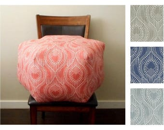 Fabric Pouf Ottoman in Grey, Blue or Scarlet, Floor Pouf - Geometric Dot Print - Cushion - Foot Stool - Dorm Decor - Housewarming Gift