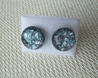 Dichroic Glass Stud Earrings Surgical Steel Hypoallergenic Handmade Silver and Blue