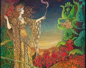 Queen of Wands Tarot Art ACEO ATC Mini Print Pagan Mythology Psychedelic Bohemian Goddess Art
