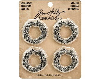 Tim Holtz Ideaology Adornments-Wreaths (set of 4)