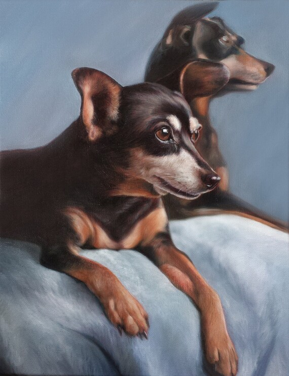 Custom Pet Portrait - PET PAINTING - Oil Painting - Miniature Pinscher - Dog Portrait - Custom Gift