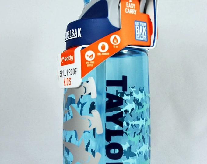 Personalized Kids CamelBak ® Water Bottle  Hammerhead- Bottle - Hydrate, Custom, Bite Valve, Toddler, Sharks, Sea, Whale, Reef, Tiger- .4L