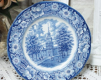 Liberty blue dinner plate, blue transferware, mix and match china, Independance Hall Staffordshire english ironstone