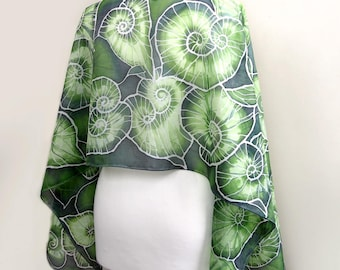 Hand painted silk scarf Begonia Leafs - green scarves - pure habotai 63x17 in