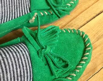 Vintage Minnetonka Moccasins Rare Green Suede