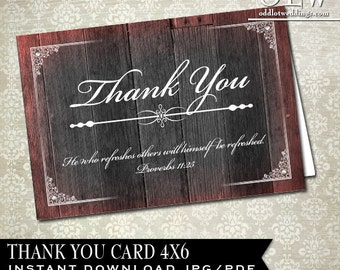 Bible Verse Thank You Card, Rustic Wood Thanks You Card, Printable Thank You Greeting Card, DIY Printable, Wedding Thank You, Scripture