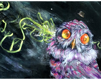 Owl Art Print - Mixed Media Art - Surrea Art - The Troof by Black Ink