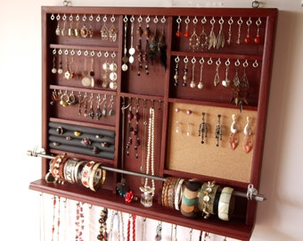 Jewelry Holder Large Earrings Display With Shelf Walnut